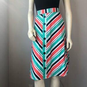 ModCloth striped button down a-line skirt pockets